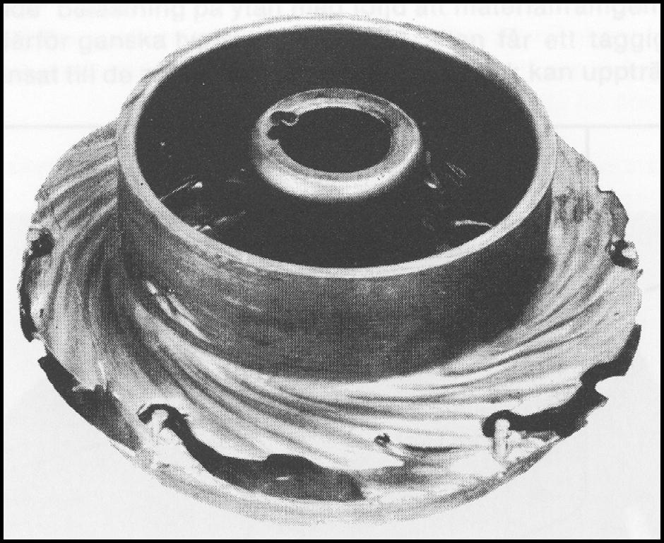 Erosionskorrosion på pumphjul för sulfatlut av rostfritt stål