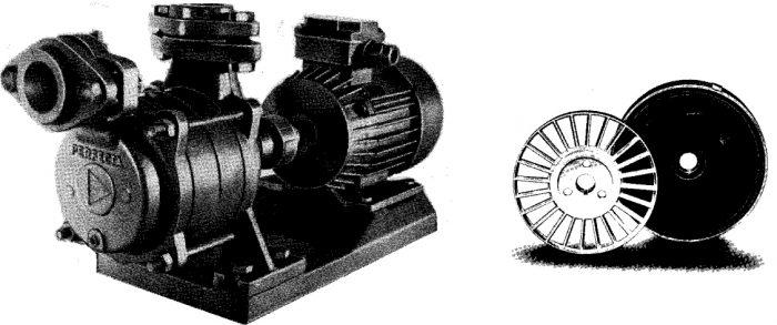 Vätskeringpump med pumphjul och mellandel